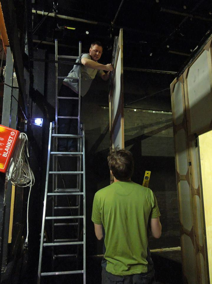 Graeme and Mark aligning flats for God of Carnage, 2013