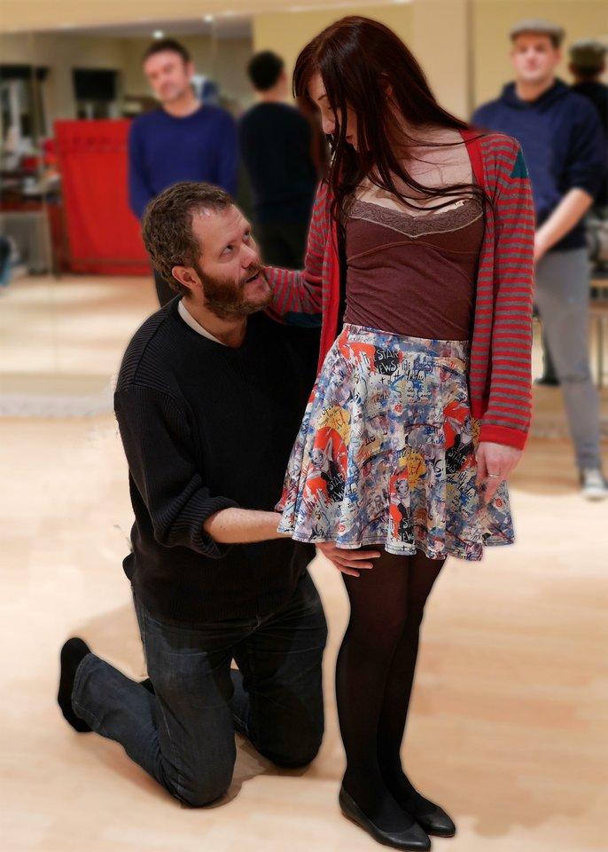 Chris Irerson and Kareena Sims rehearsing Anne Boleyn, 2013