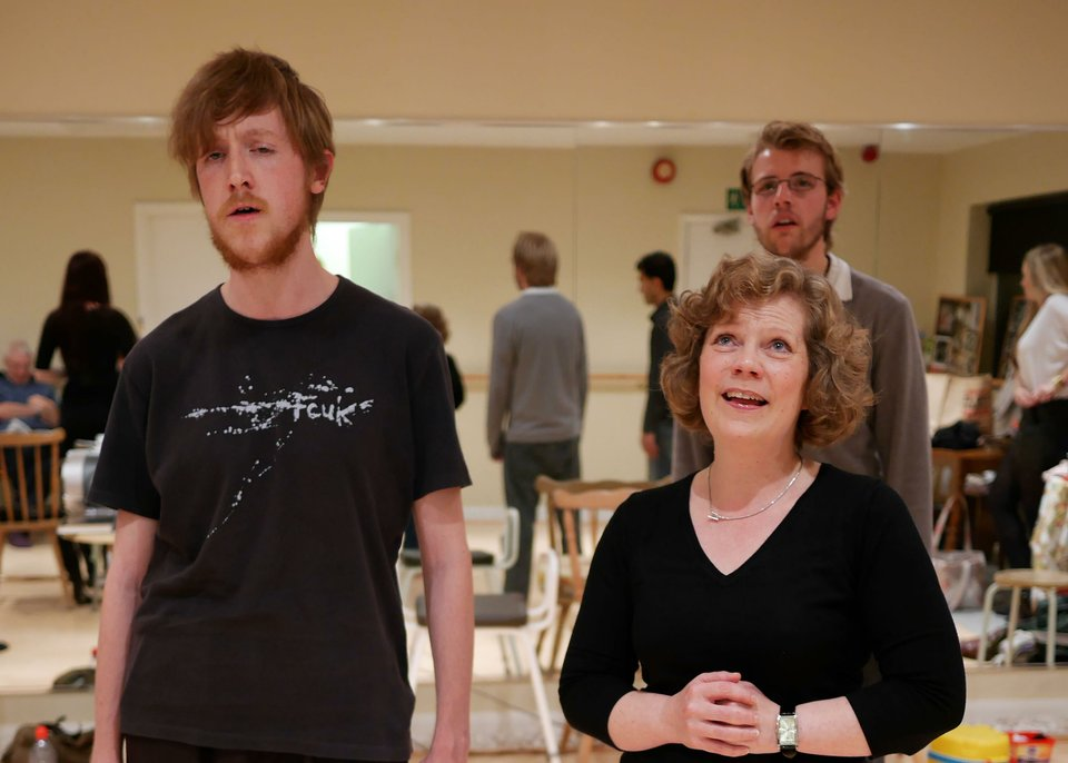 Ciaran, Anne and Nick rehearsing Anne Boleyn, 2013