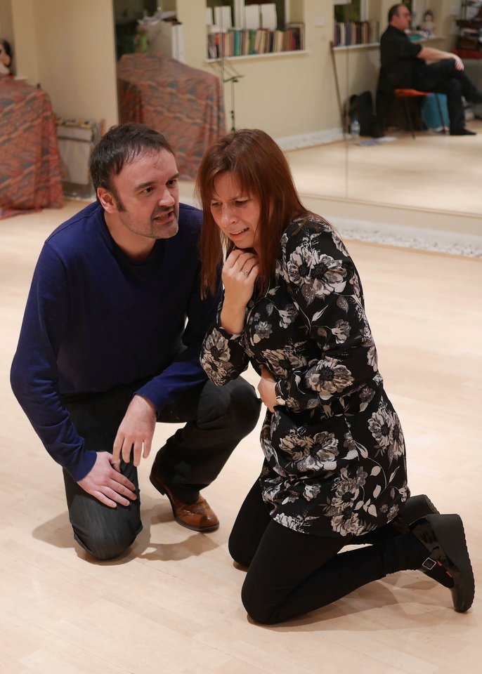 Jason Wrightam and Jemma Bennett rehearsing Anne Boleyn, 2013