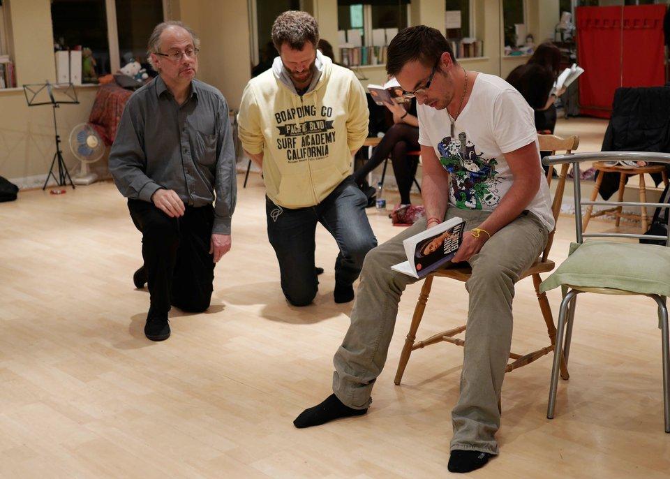 David, Chris and Gordon rehearsing Anne Boleyn, 2013