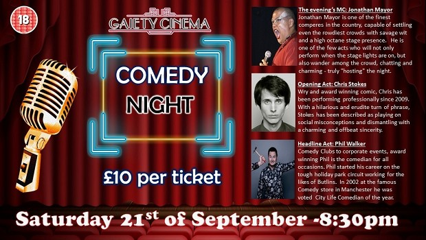 The Gaiety Comedy Night, Sep 21st 2019