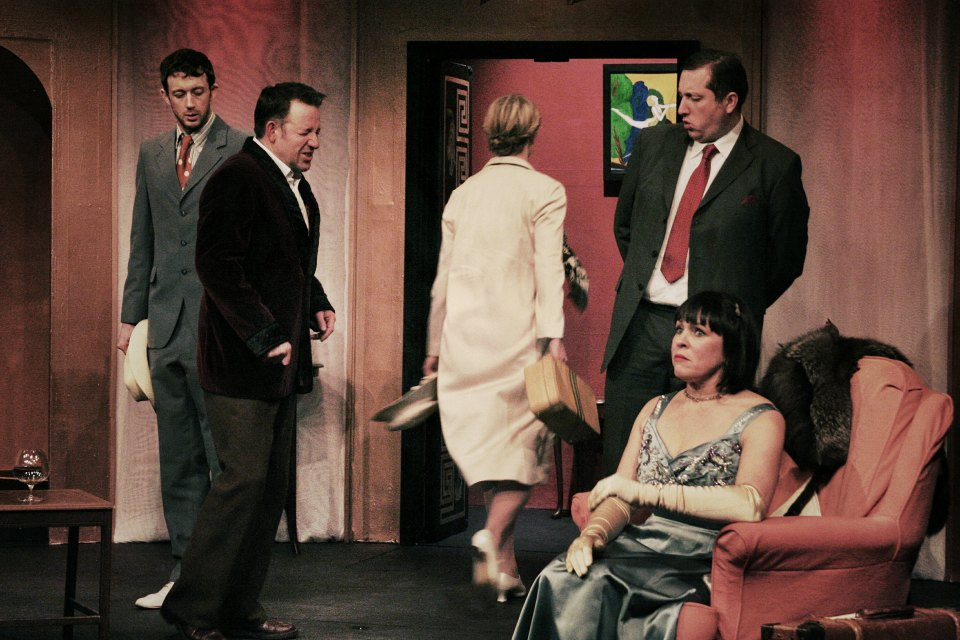 Tom, John, Chloe, Gareth and Sarah in Present Laughter (2015)