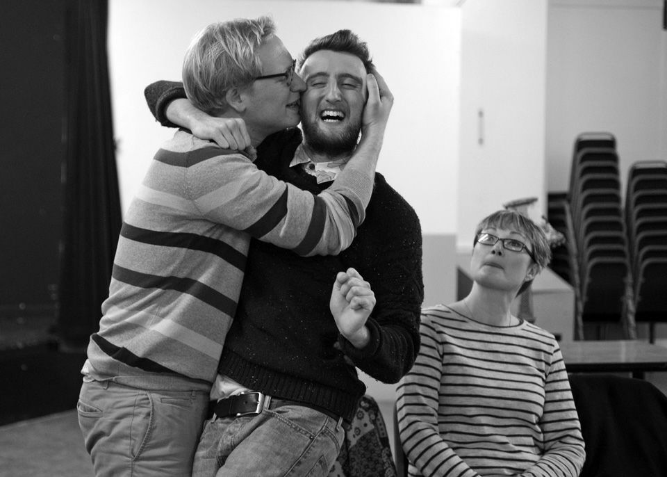 Sam, George and Bex in Black Comedy, 2014