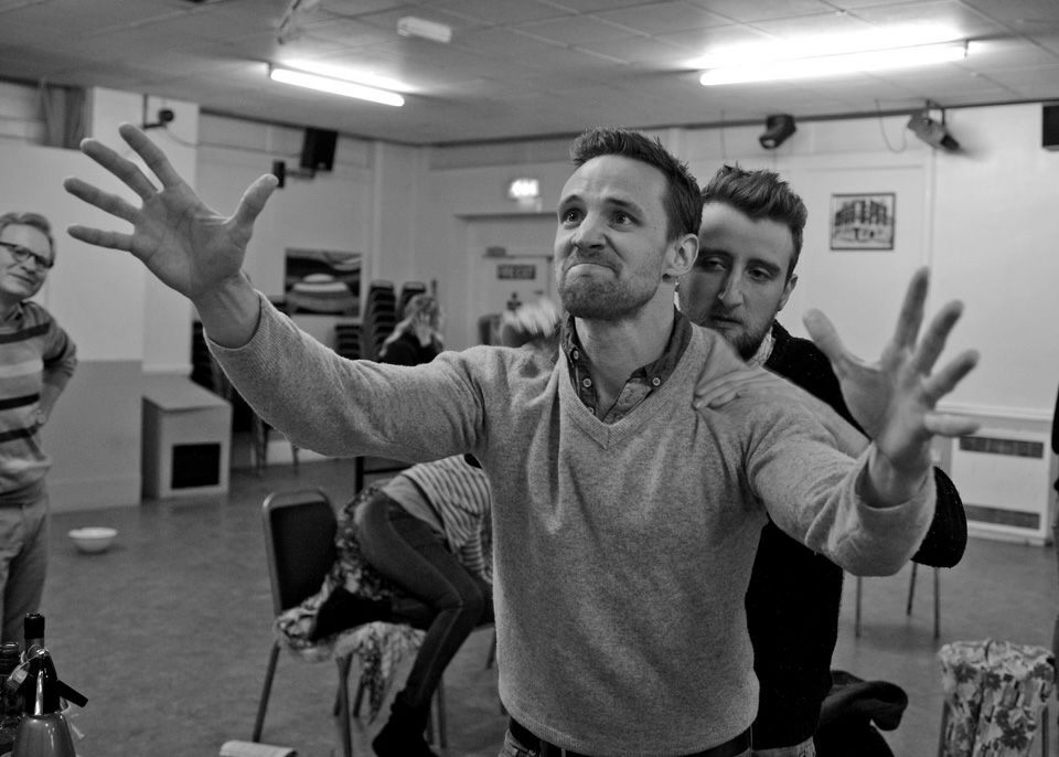 Chris Moseley and George Page-Bailey in Black Comedy, 2014