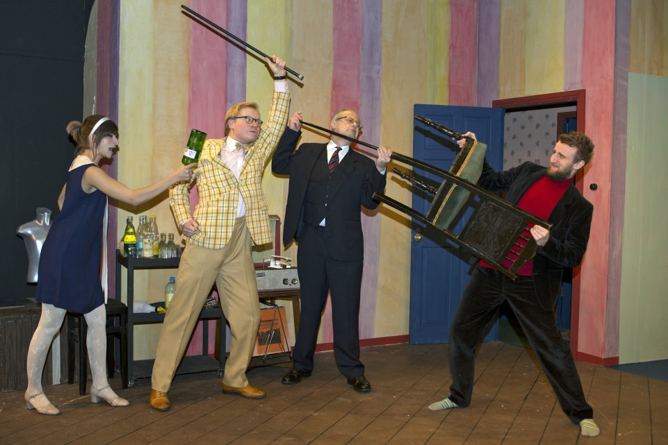 Nicki, Sam, David and George in Black Comedy, 2014