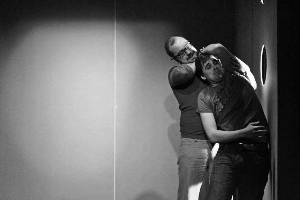Adam Worton and Mathew Hunt in The Pillowman, 2014