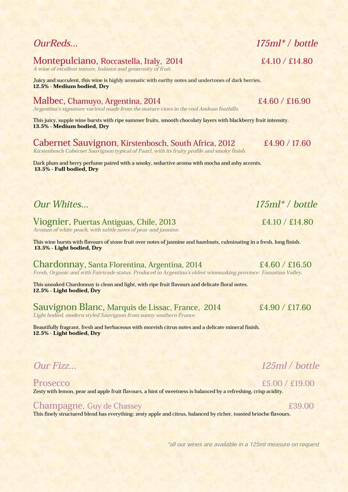 Wine List Spring 2016